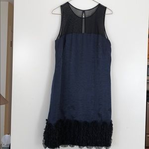 Blue rayon shimmery dress with a ruffle